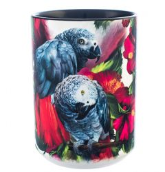 African Grey Ceramic Mug 15 oz