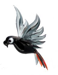 African Grey Blown Glass Art