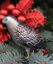 Old World Christmas African Grey Parrot Glass