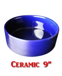 Ceramic Food Bowl Blue 9""