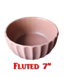 Ceramic Food Bowl Fluted Design 7""