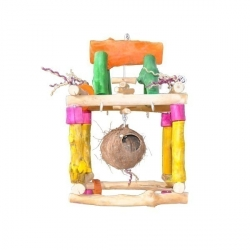 Java Wood Single Tower Hanging Play Stand Small