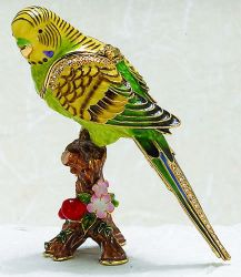 Parakeet Trinket Box with Austrian Crystals