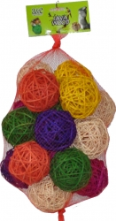 Java Wood Large Rattan Bundle of Balls 8 cm 10 Pac