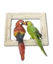 Resin Scarlet and Green Macaw on Wood Frame