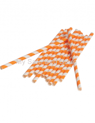 Paper Straws Orange Striped