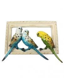 Resin Parakeets on White Wood Frame