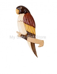 Wood Intarsia Parrot Magnet