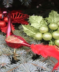 Old World Christmas Garnet Peacock Glass  Ornament