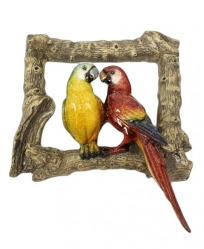 Resin Scarlet and Blue/Gold Macaw on Rustic Wood