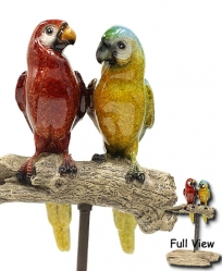 Resin Macaws on Driftwood Perch