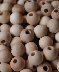 Round Wood Bead Natural 5/8 Inch 100 Pack