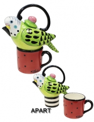 Parakeet Teapot Set Red/Green