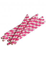 Paper Straws Hot Pink Striped