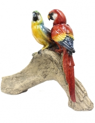 Resin Macaws on Wood Statue